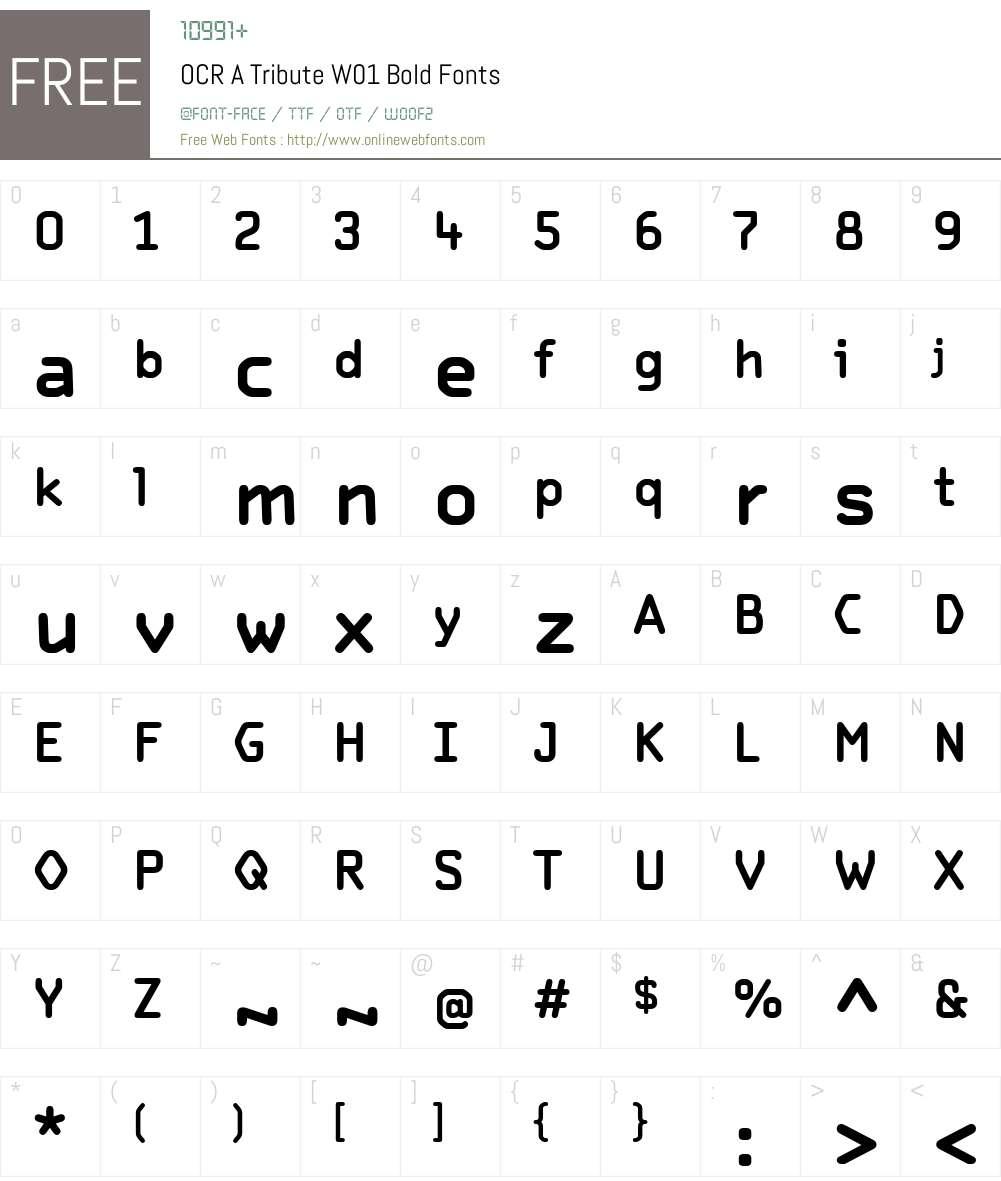 OCRATributeW01-Bold Font Screenshots