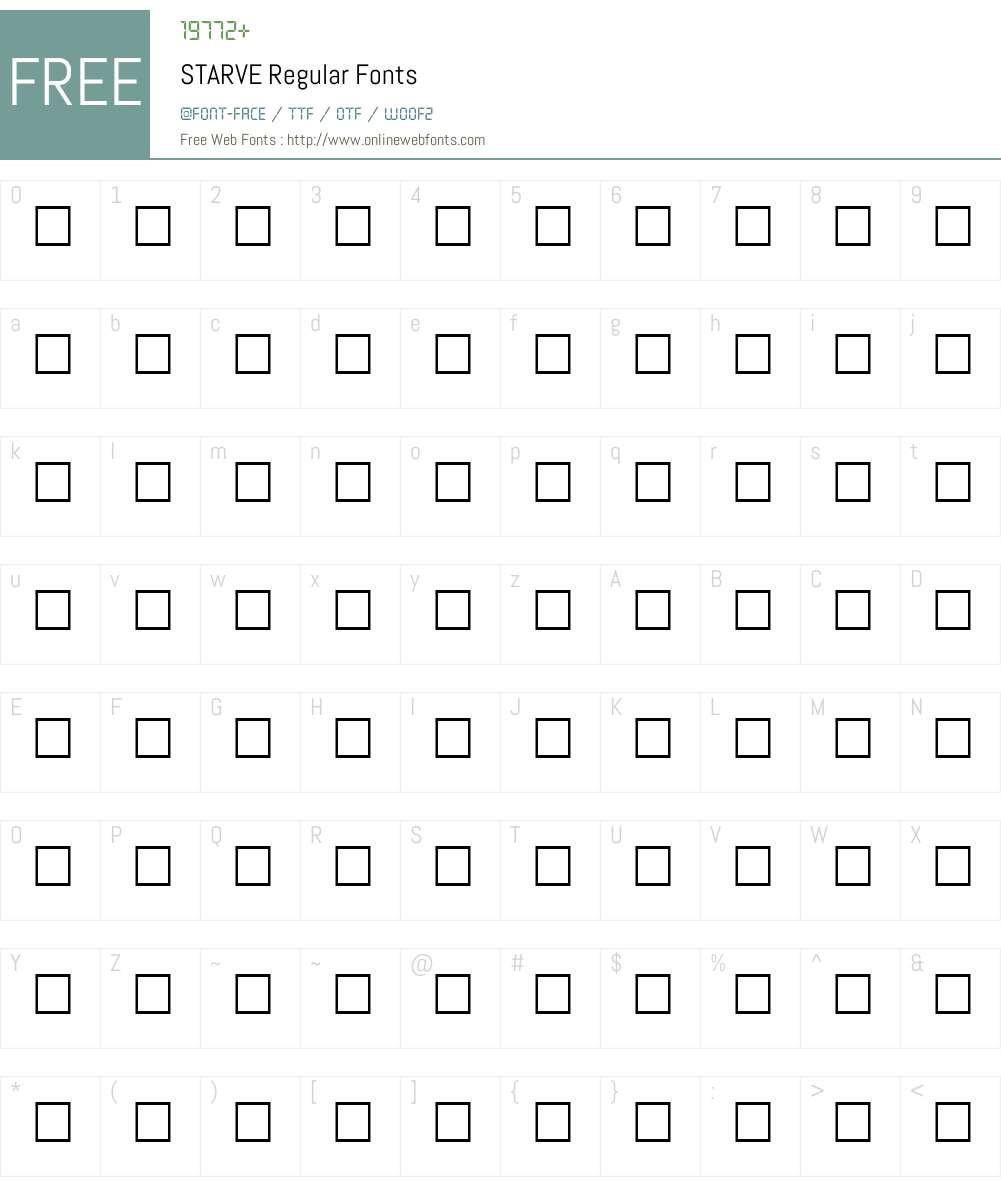 STARVE Font Screenshots