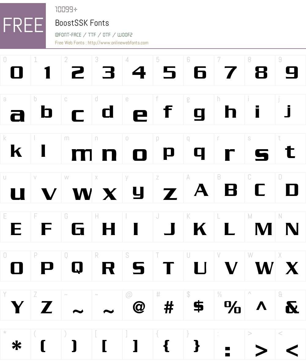 BoostSSK Font Screenshots