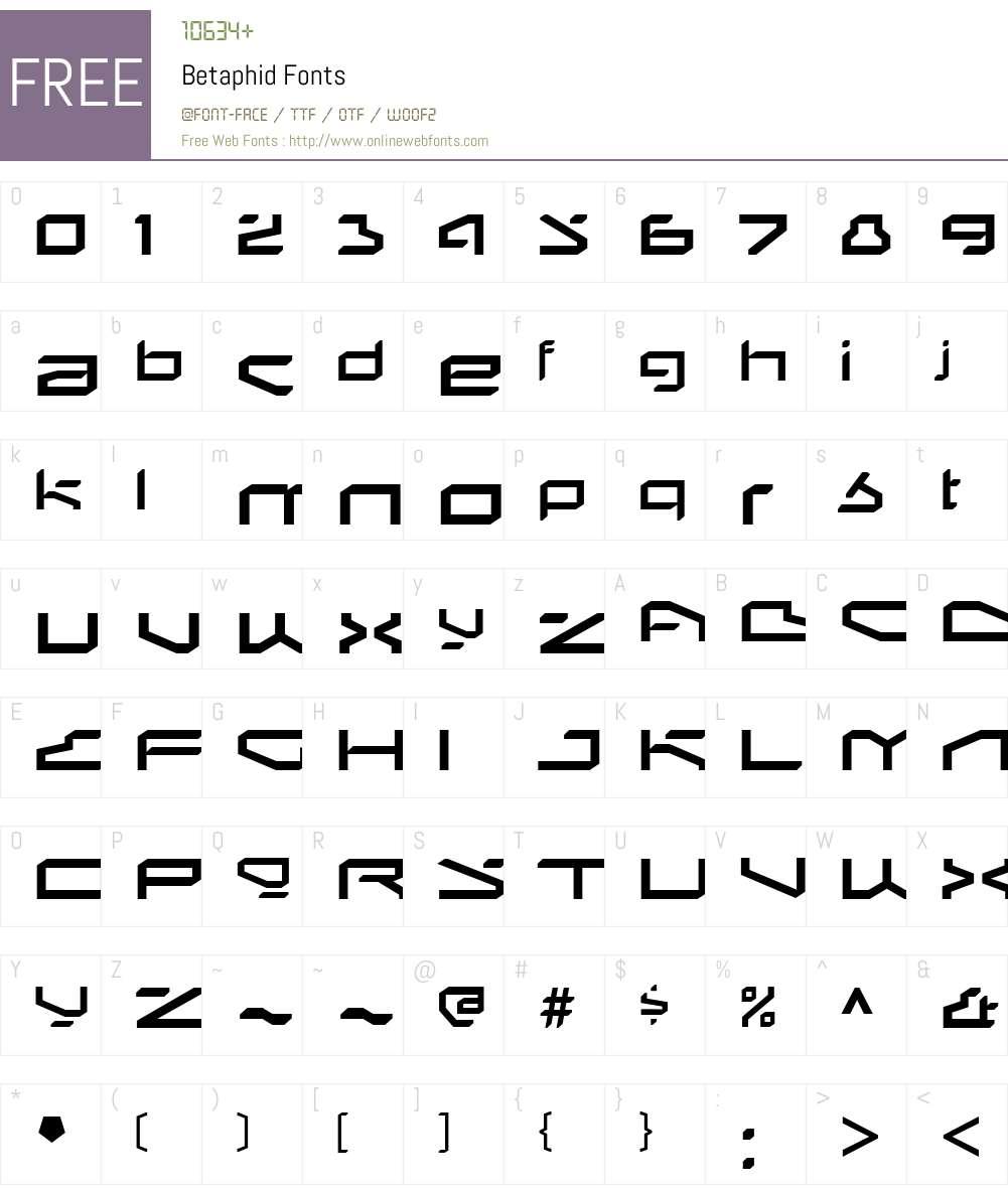 Betaphid Font Screenshots