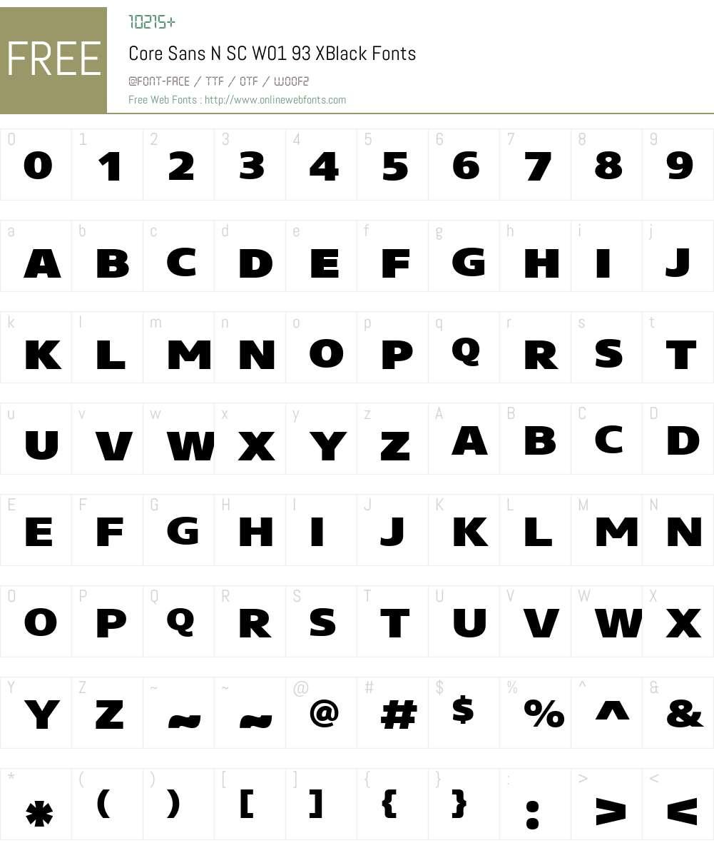CoreSansNSCW01-93XBlack Font Screenshots