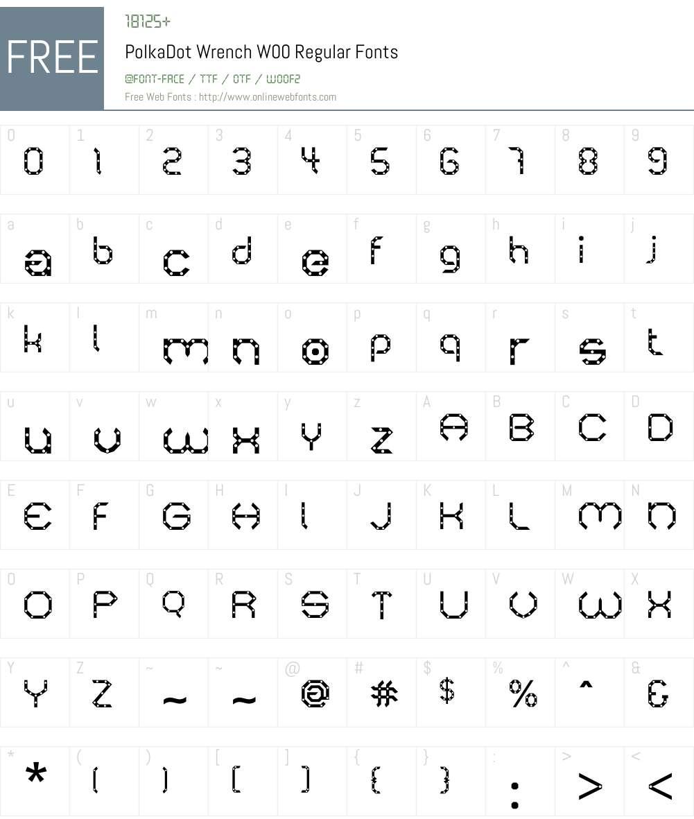PolkaDotWrenchW00-Regular Font Screenshots
