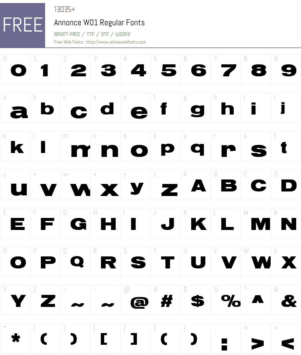 AnnonceW01-Regular Font Screenshots