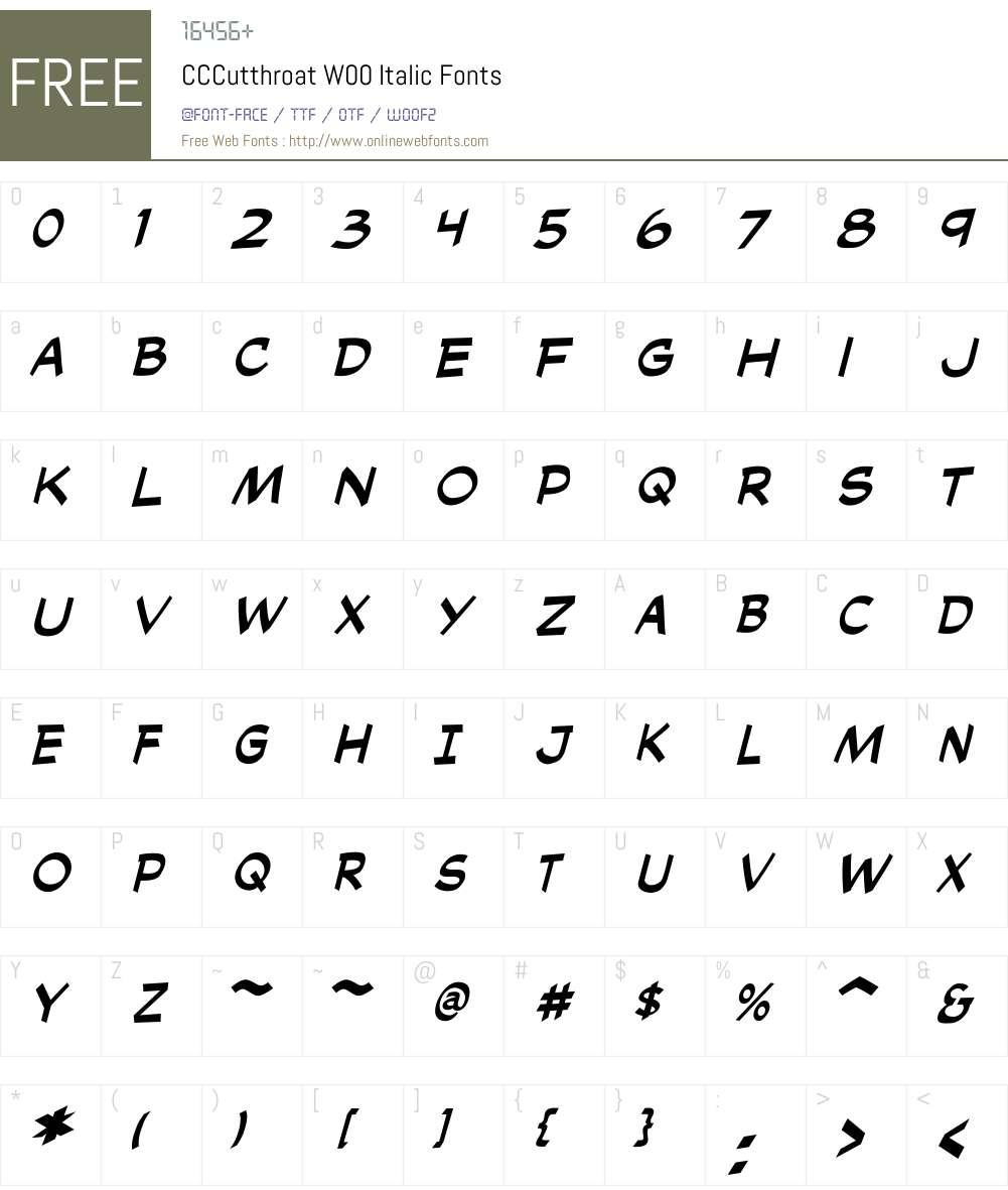 CCCutthroatW00-Italic Font Screenshots