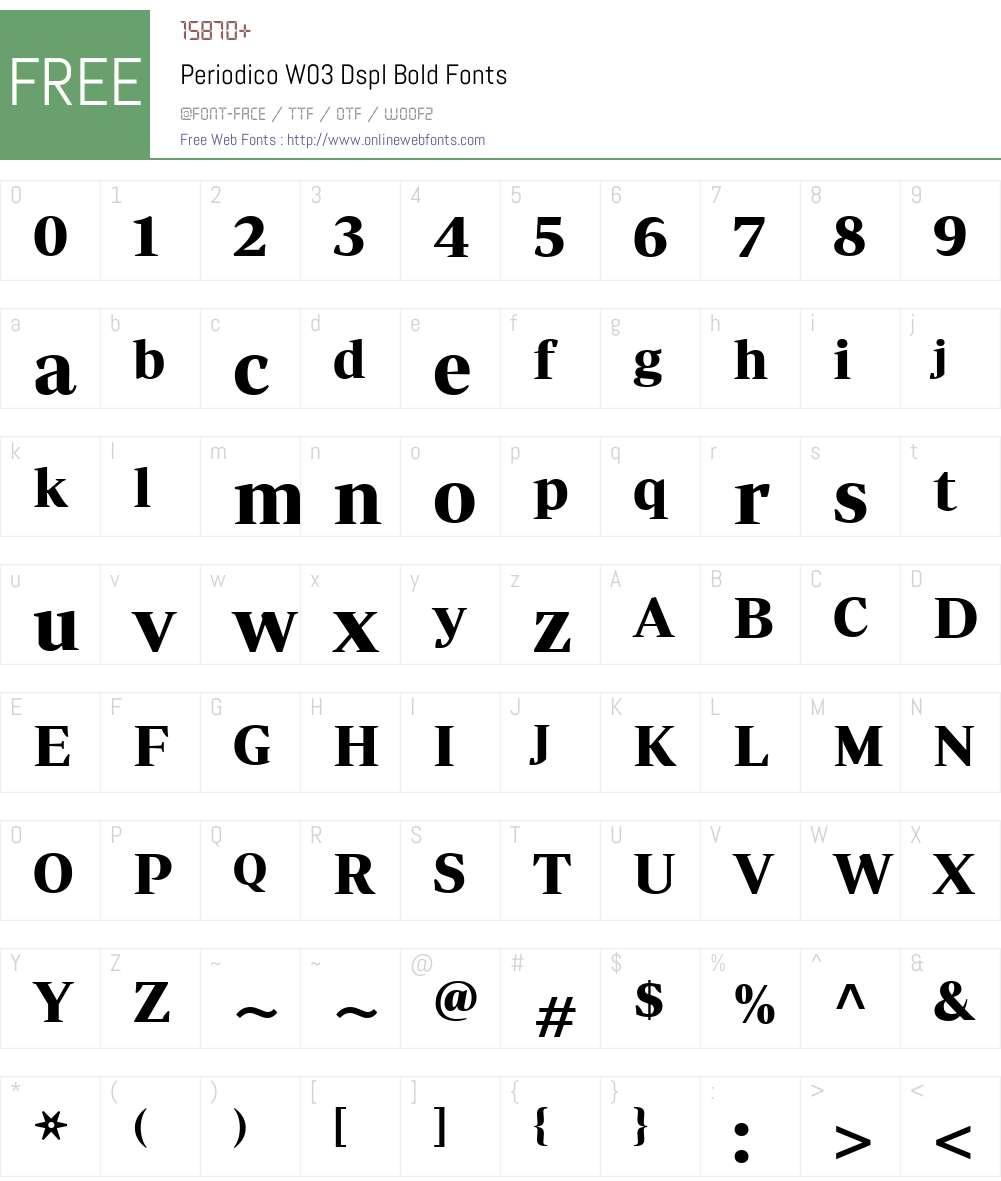 PeriodicoW03-DsplBold Font Screenshots