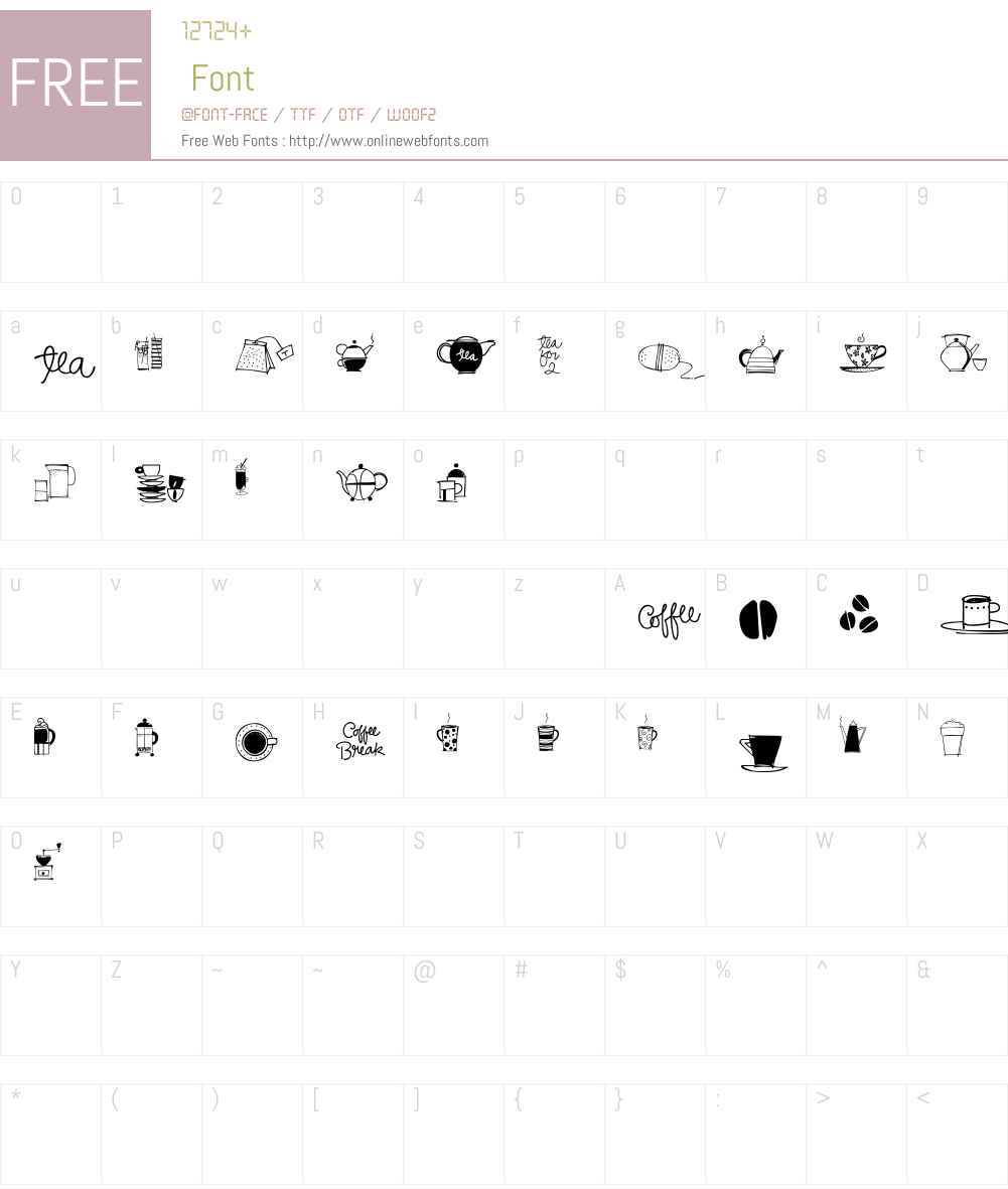 CoffeeandTeaW95-Doodles Font Screenshots