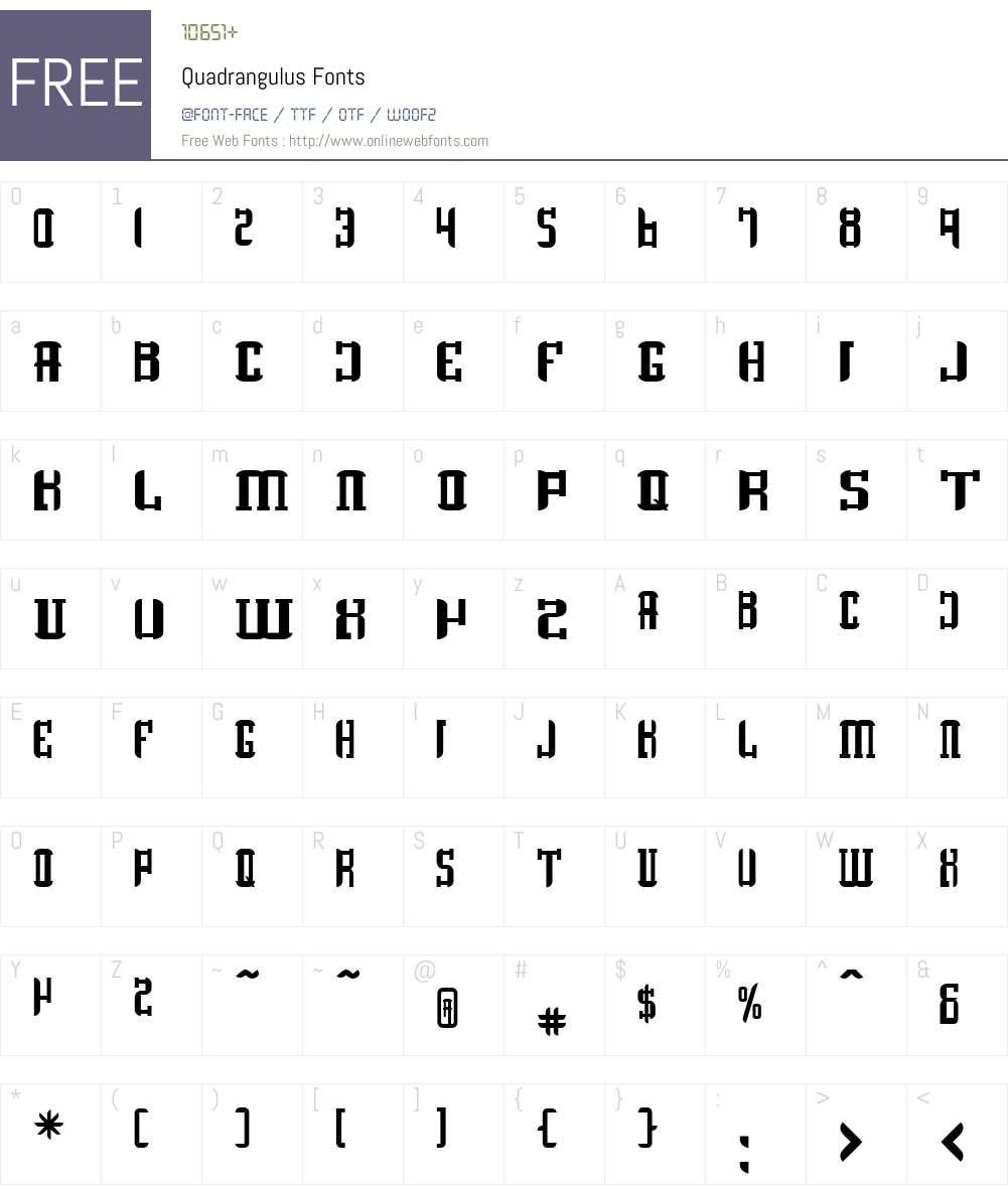 Quadrangulus Font Screenshots