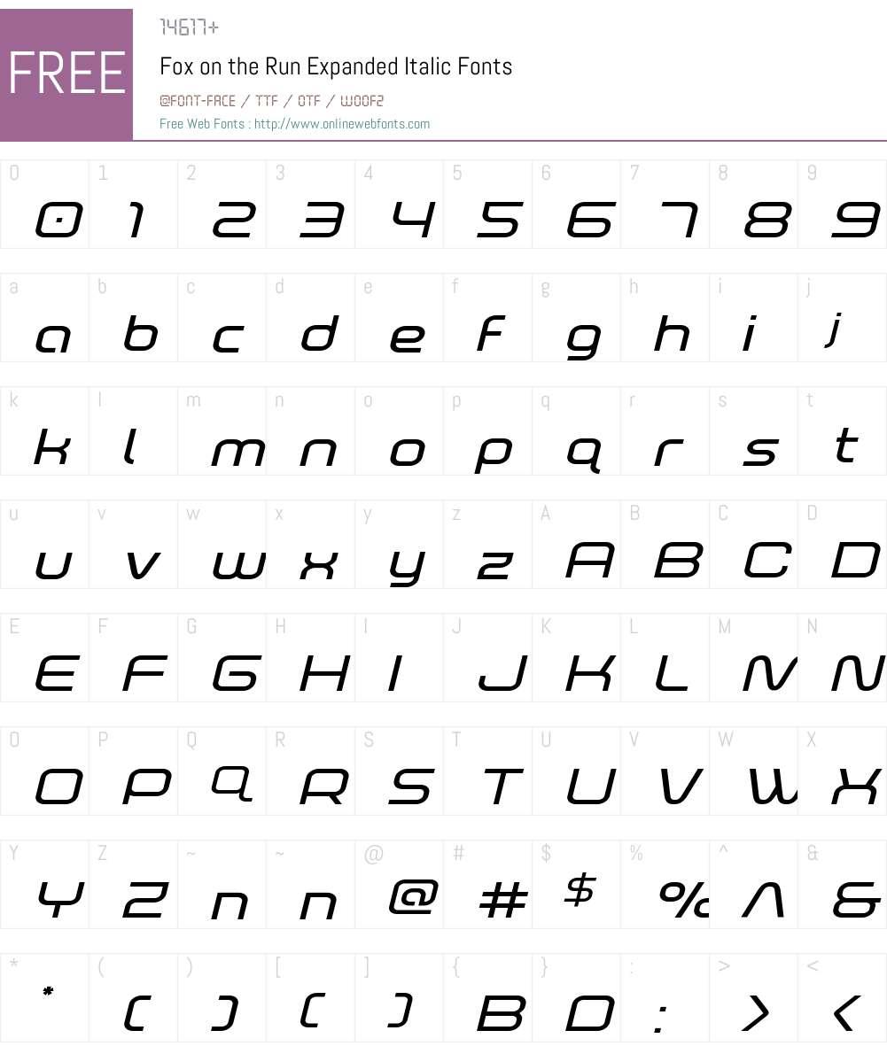 Fox on the Run Expanded Italic Font Screenshots