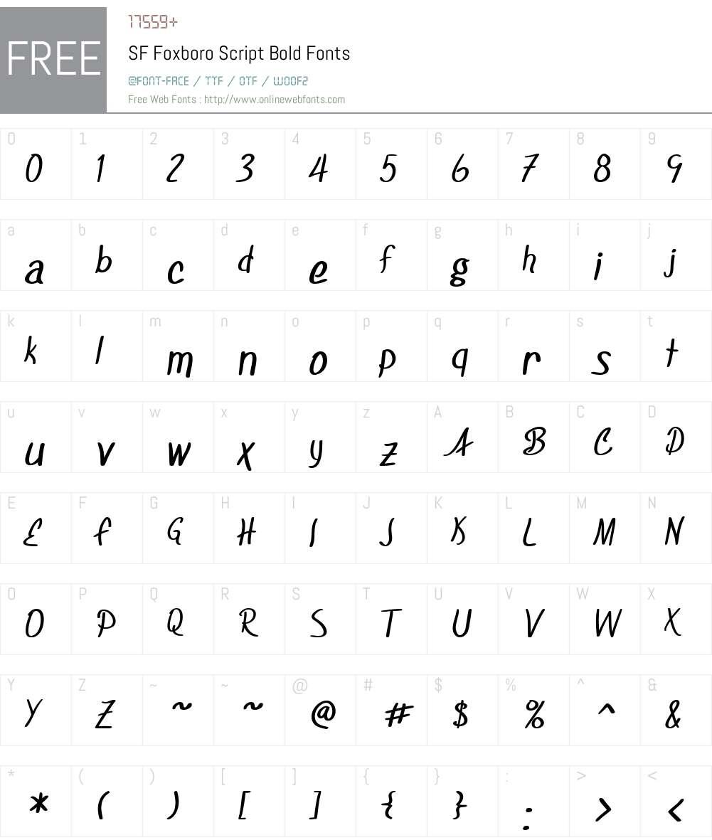 SF Foxboro Script Font Screenshots