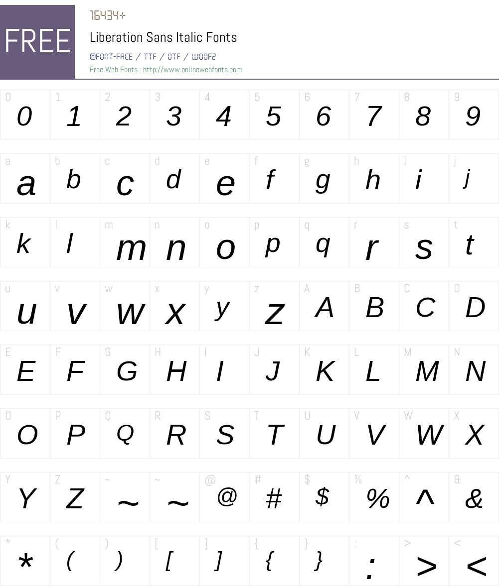 Liberation Sans Font Screenshots