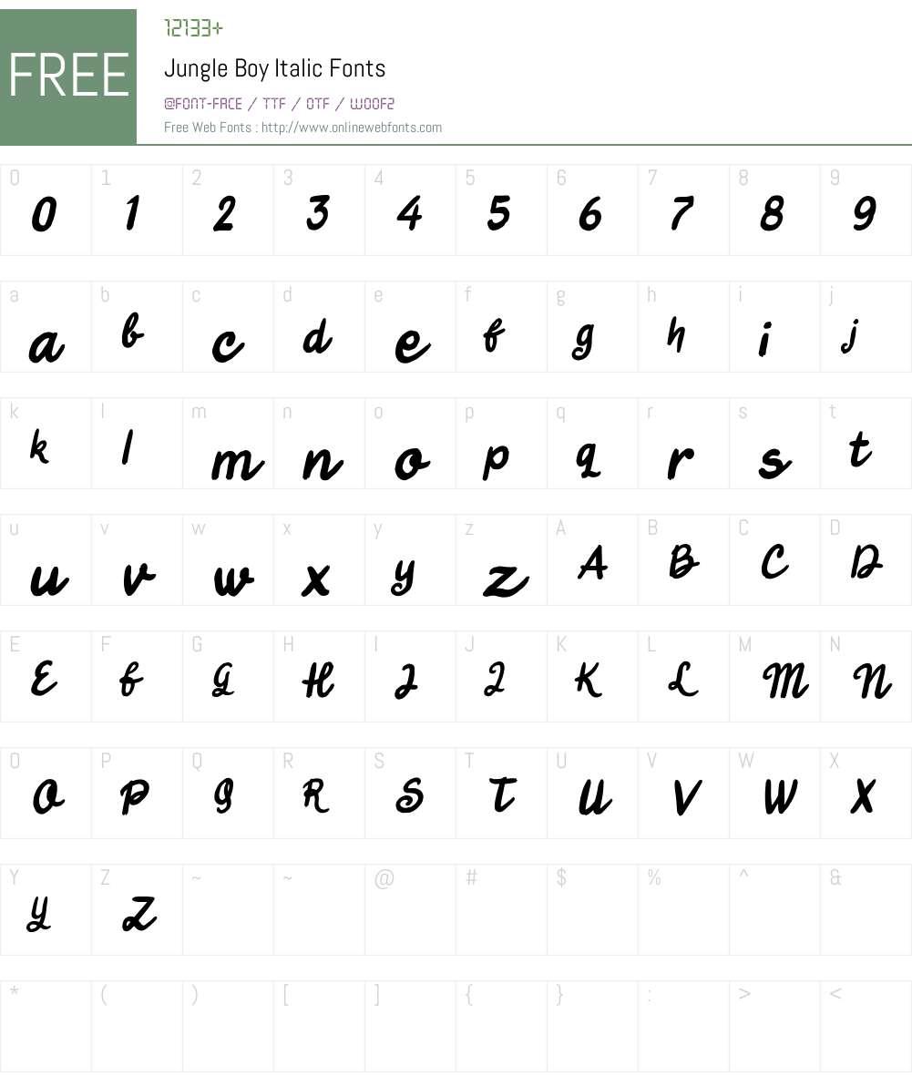 Jungle Boy Italic Font Screenshots