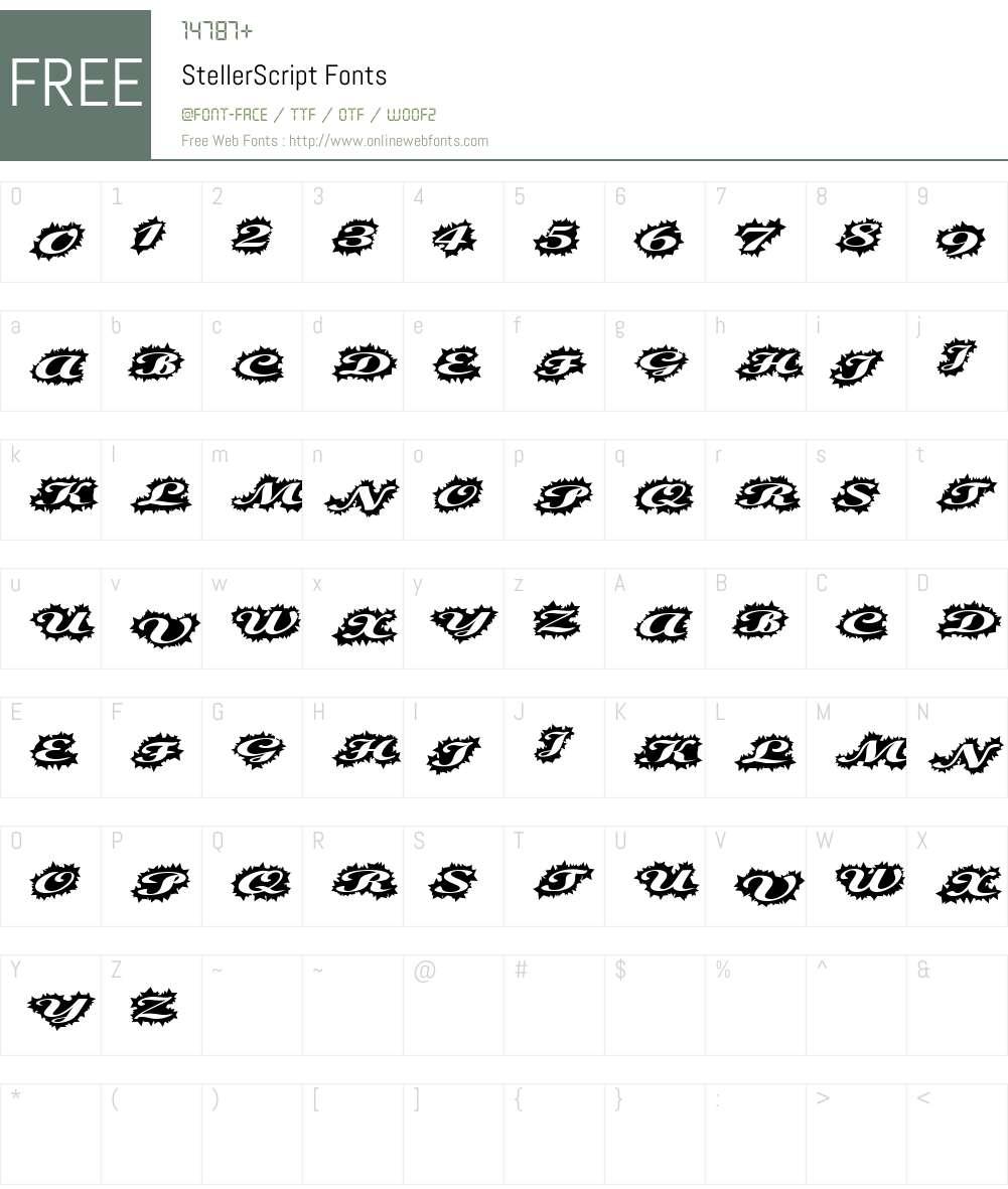 StellerScript Font Screenshots