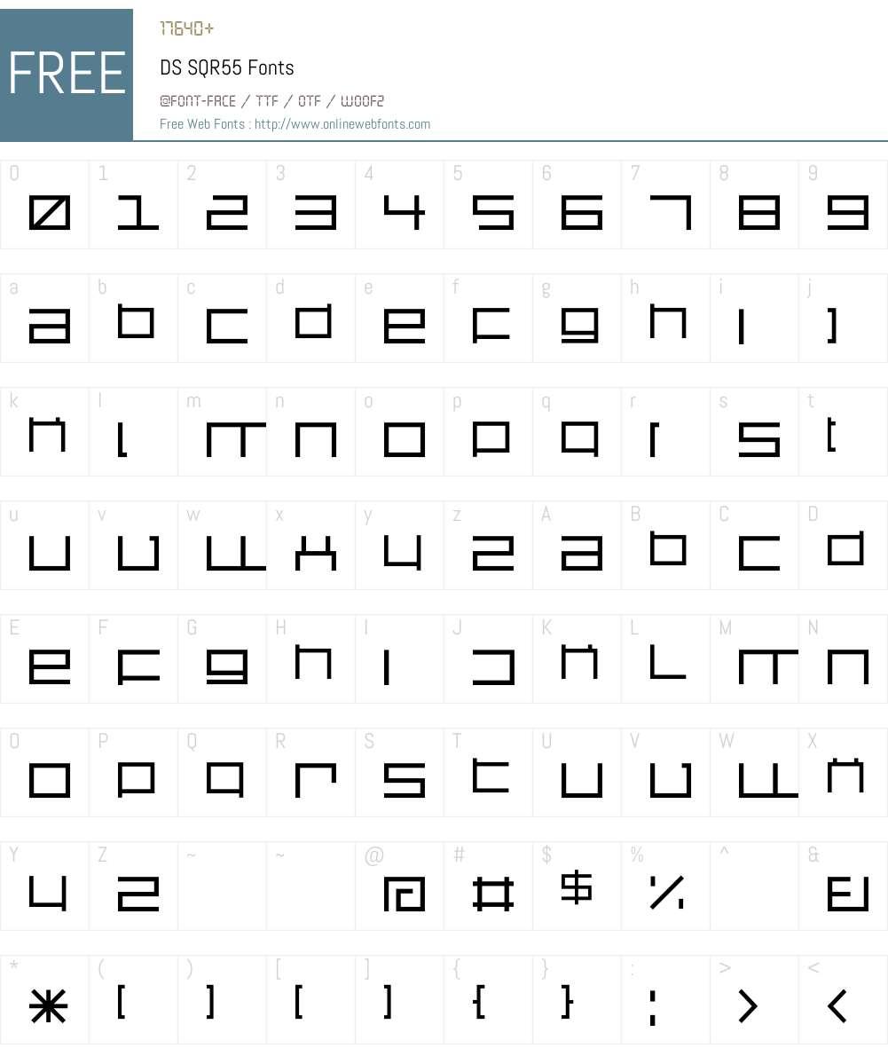 DS SQR55 Font Screenshots