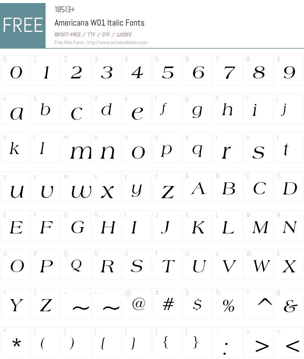 AmericanaW01-Italic Font Screenshots