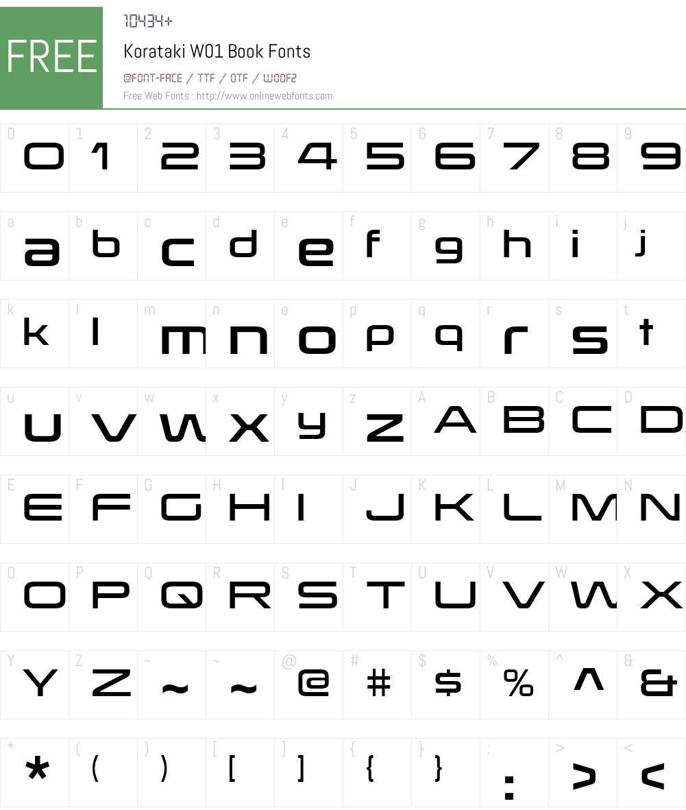 KoratakiW01-Book Font Screenshots