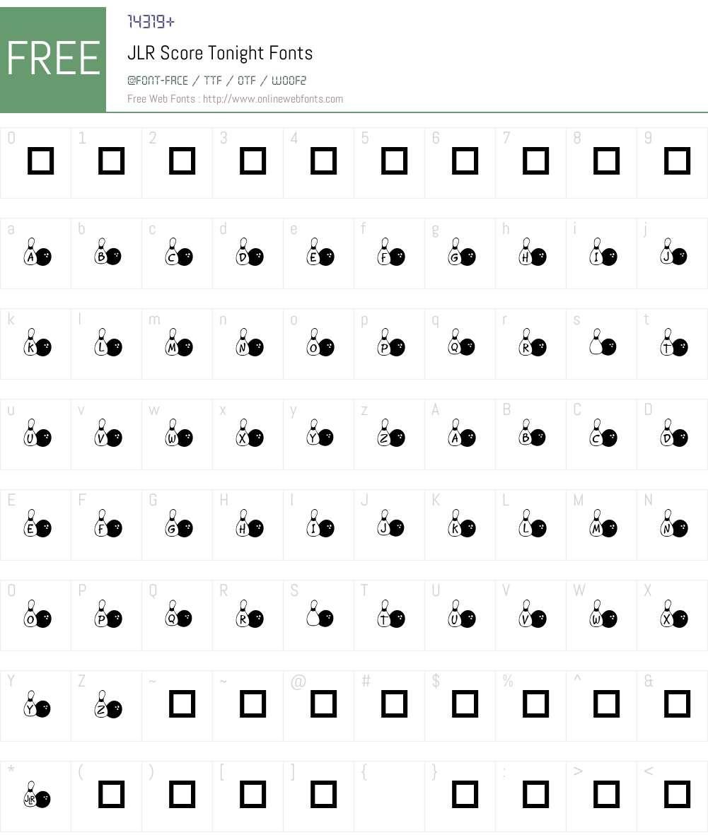 JLR Score Tonight Font Screenshots