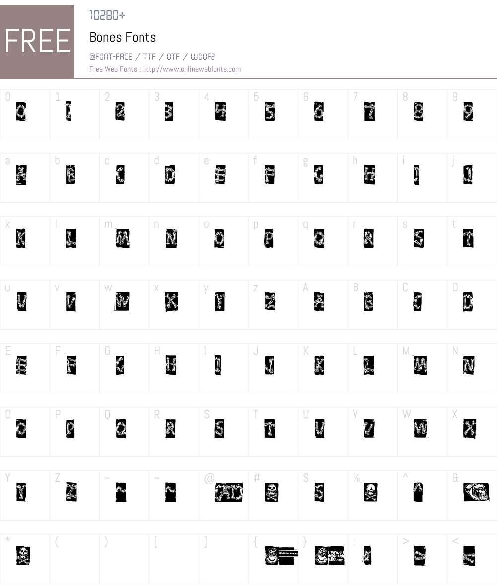Bones Font Screenshots