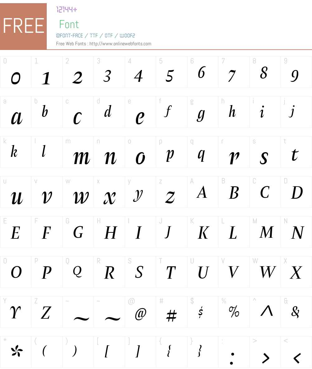 AmsterW00-GrisItalica Font Screenshots