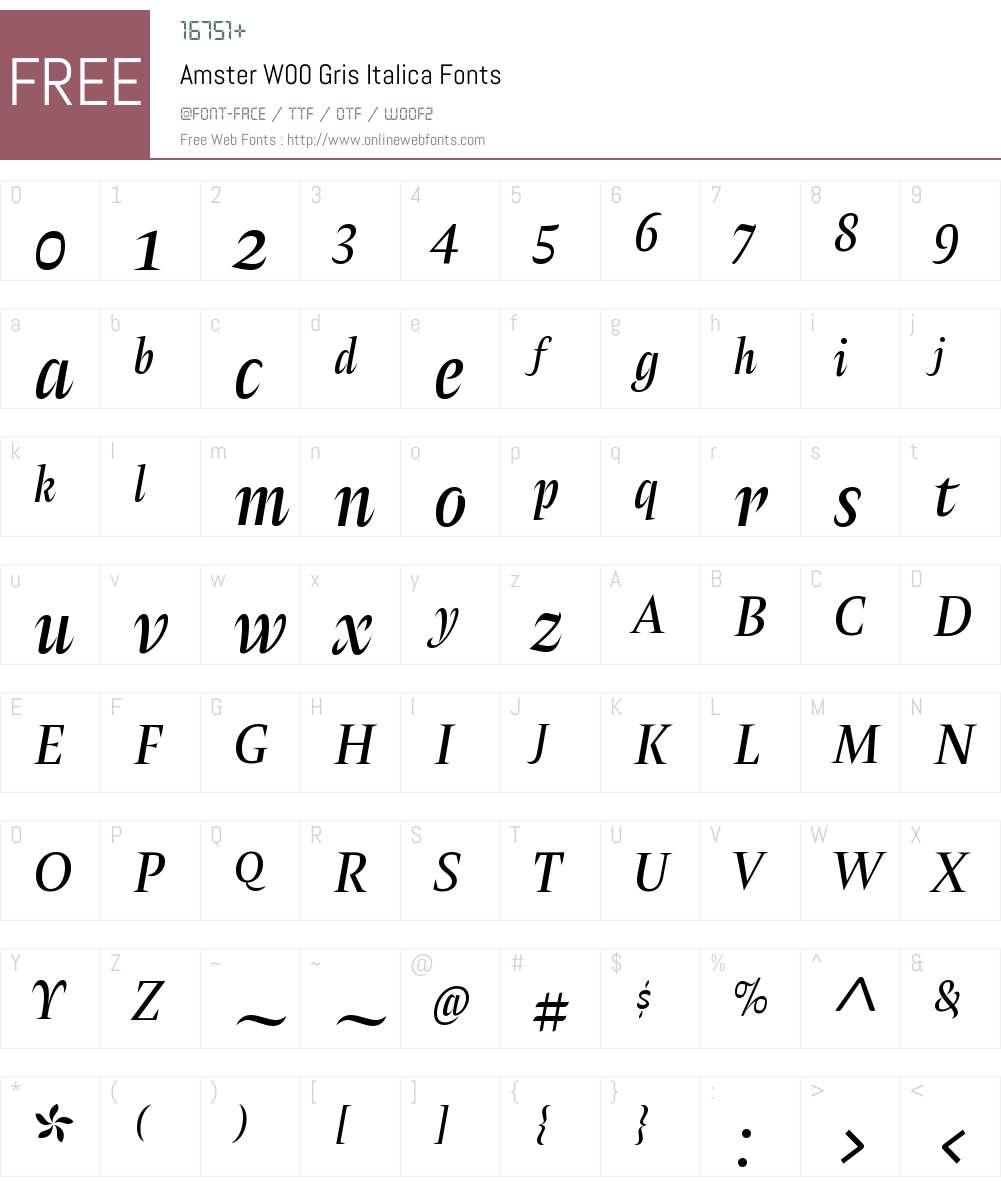 AmsterW00-GrisItalica Font Screenshots