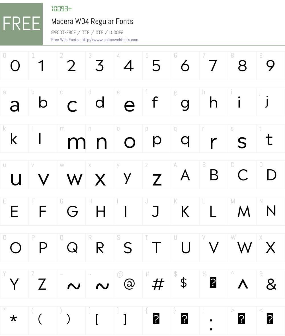 MaderaW04-Regular Font Screenshots