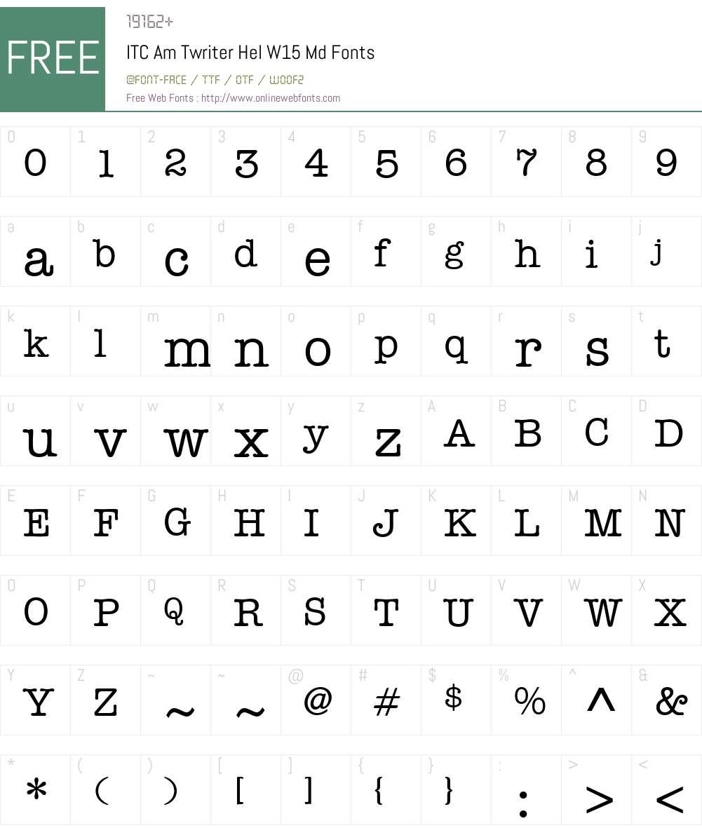 ITCAmTwriterHelW15-Md Font Screenshots