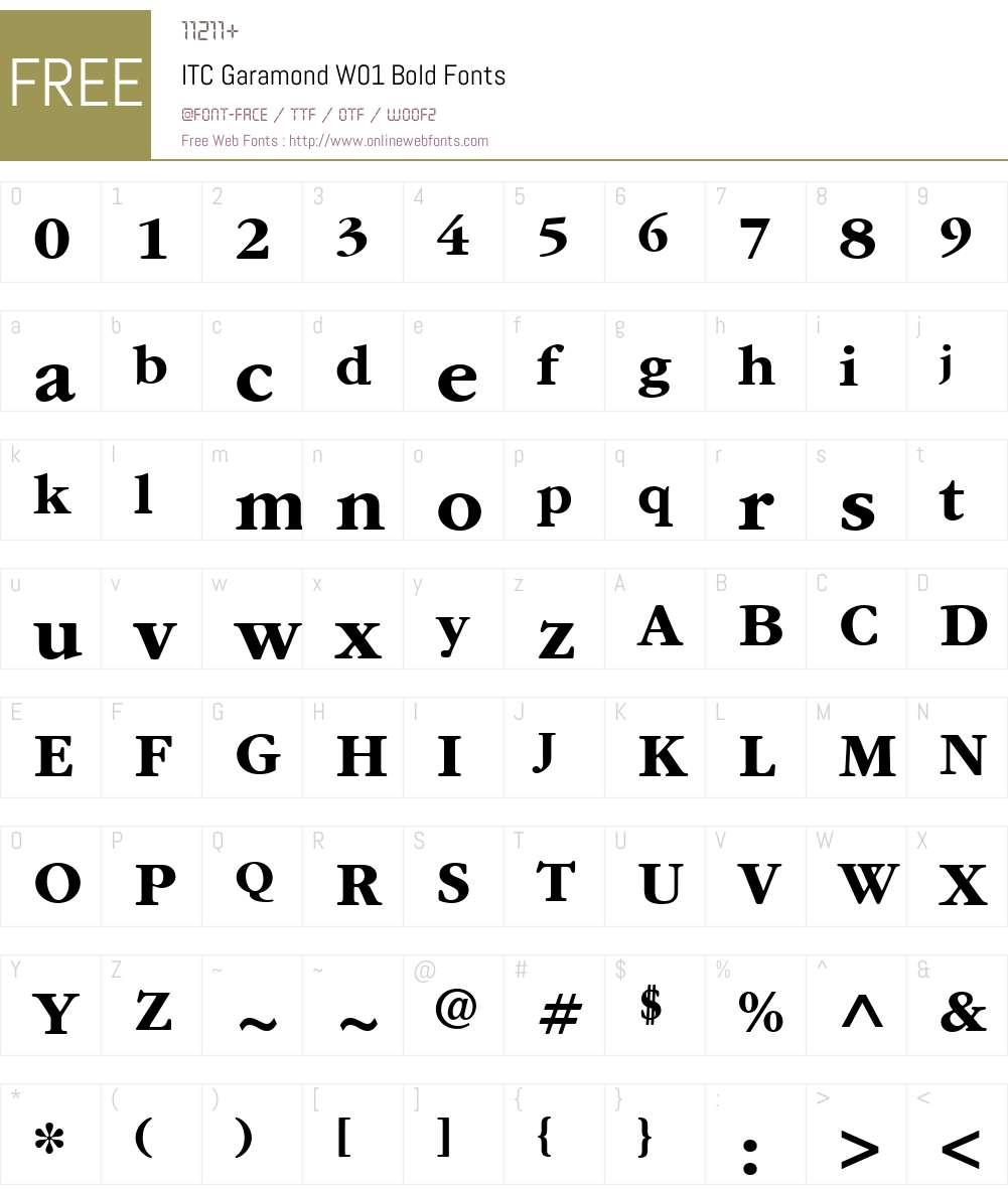 ITCGaramondW01-Bold Font Screenshots