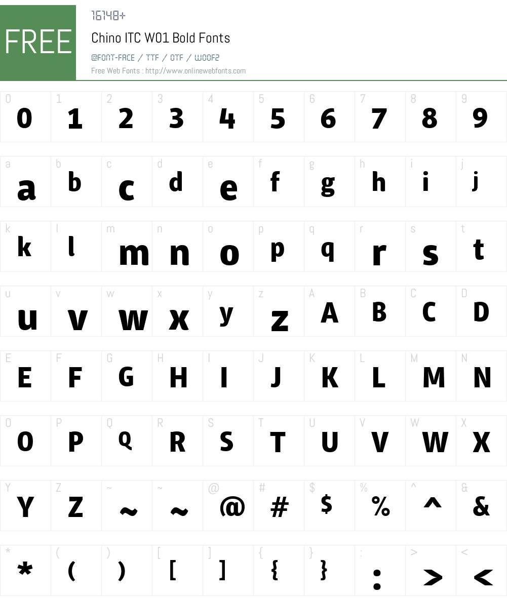 ChinoITCW01-Bold Font Screenshots