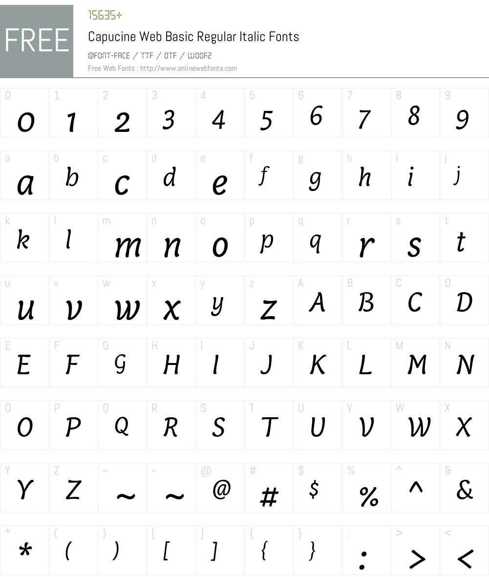 Capucine Web Basic Regular Italic Font Screenshots