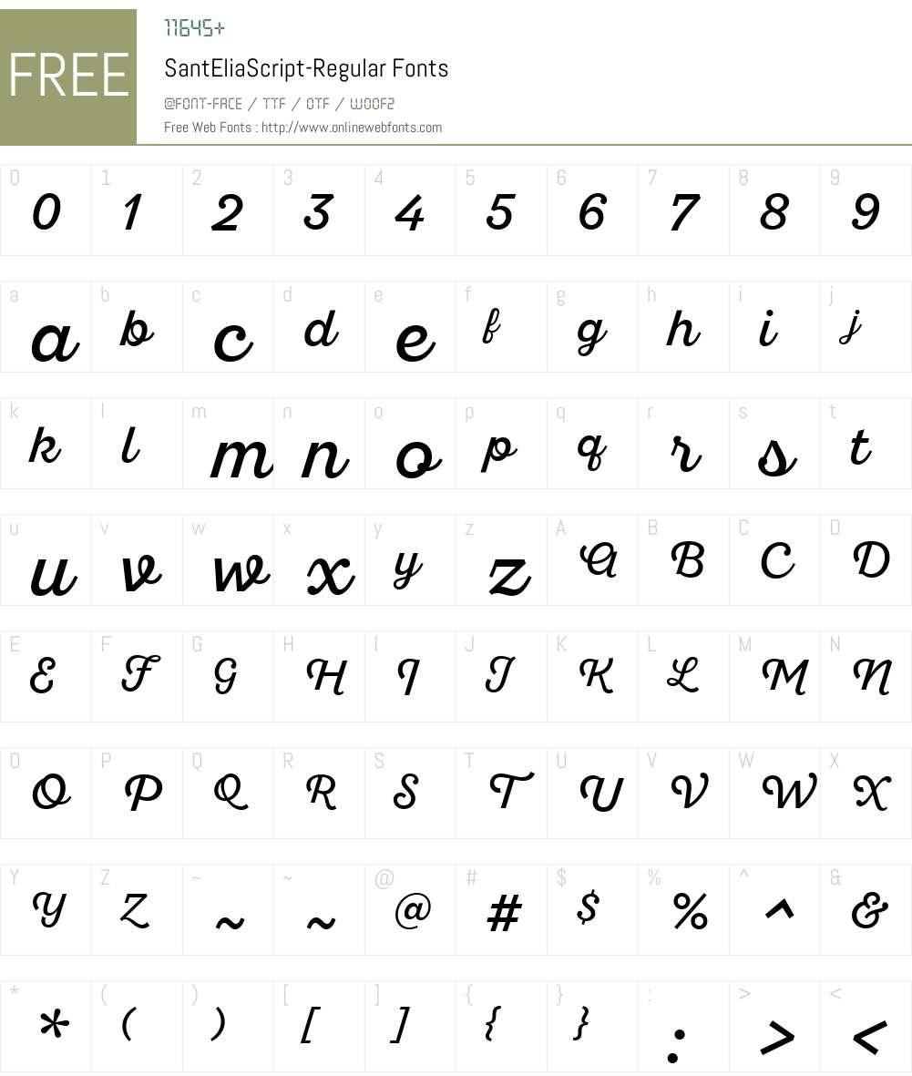 SantEliaScript-Regular Font Screenshots