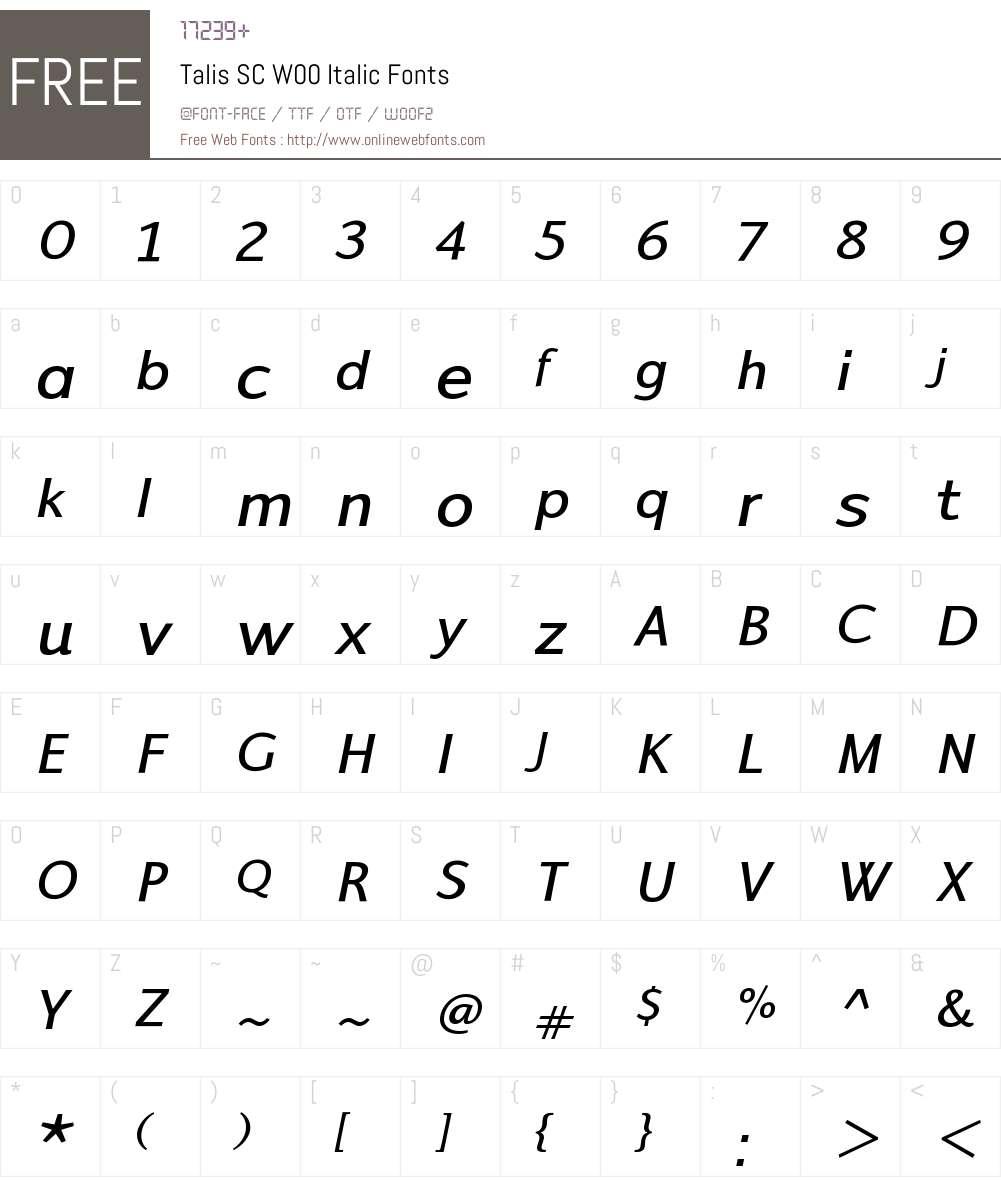 TalisSCW00-Italic Font Screenshots