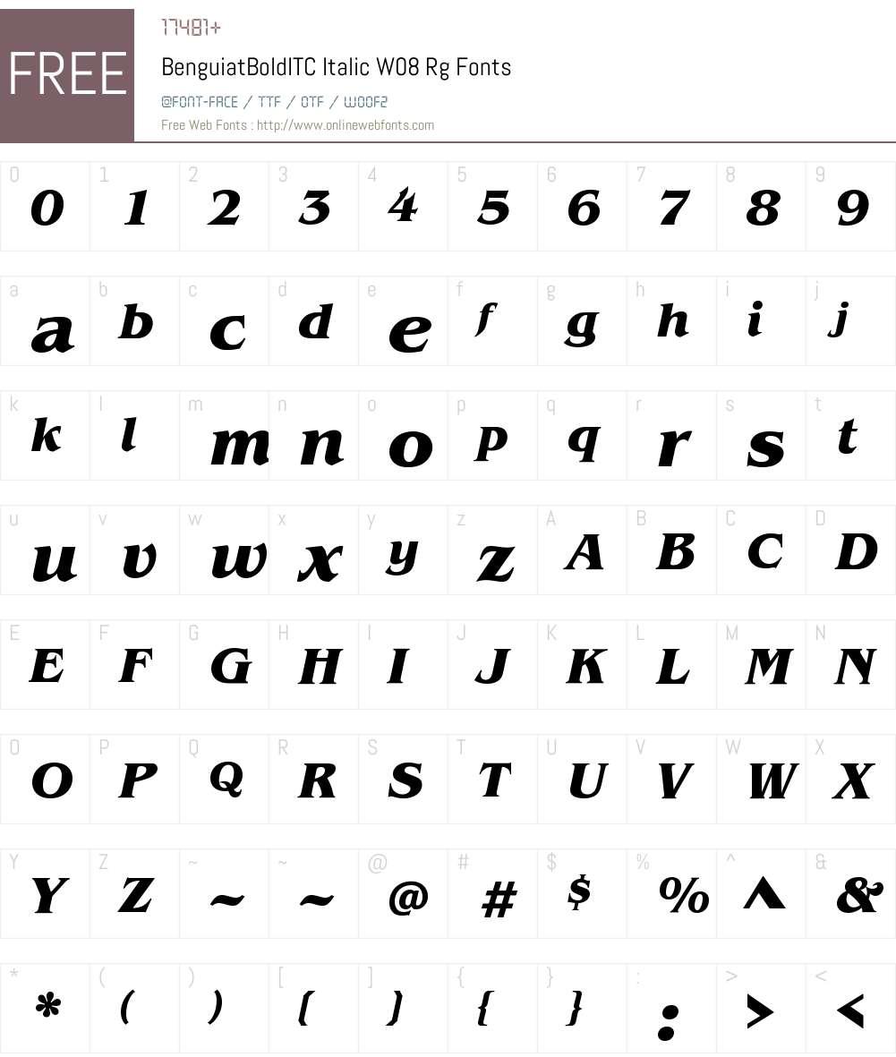 BenguiatBoldITCItalicW08-Rg Font Screenshots