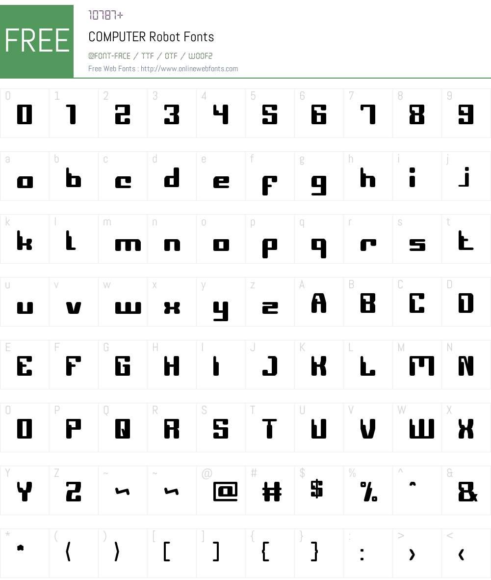 COMPUTER Robot Font Screenshots
