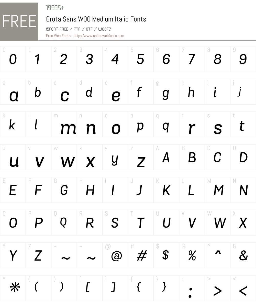 GrotaSansW00-MediumItalic Font Screenshots