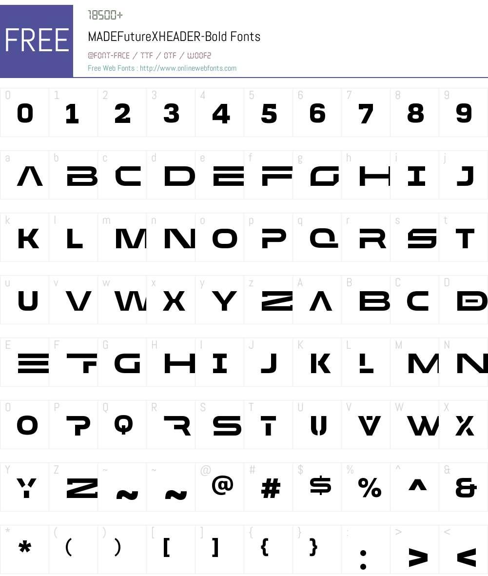 MADE Future X HEADER Font Screenshots