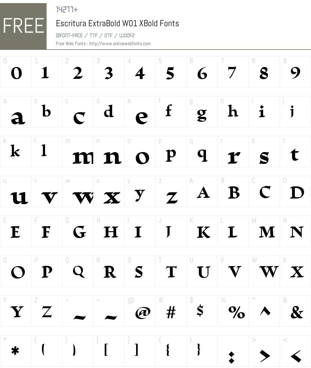 EscrituraExtraBoldW01-XBold Font Screenshots
