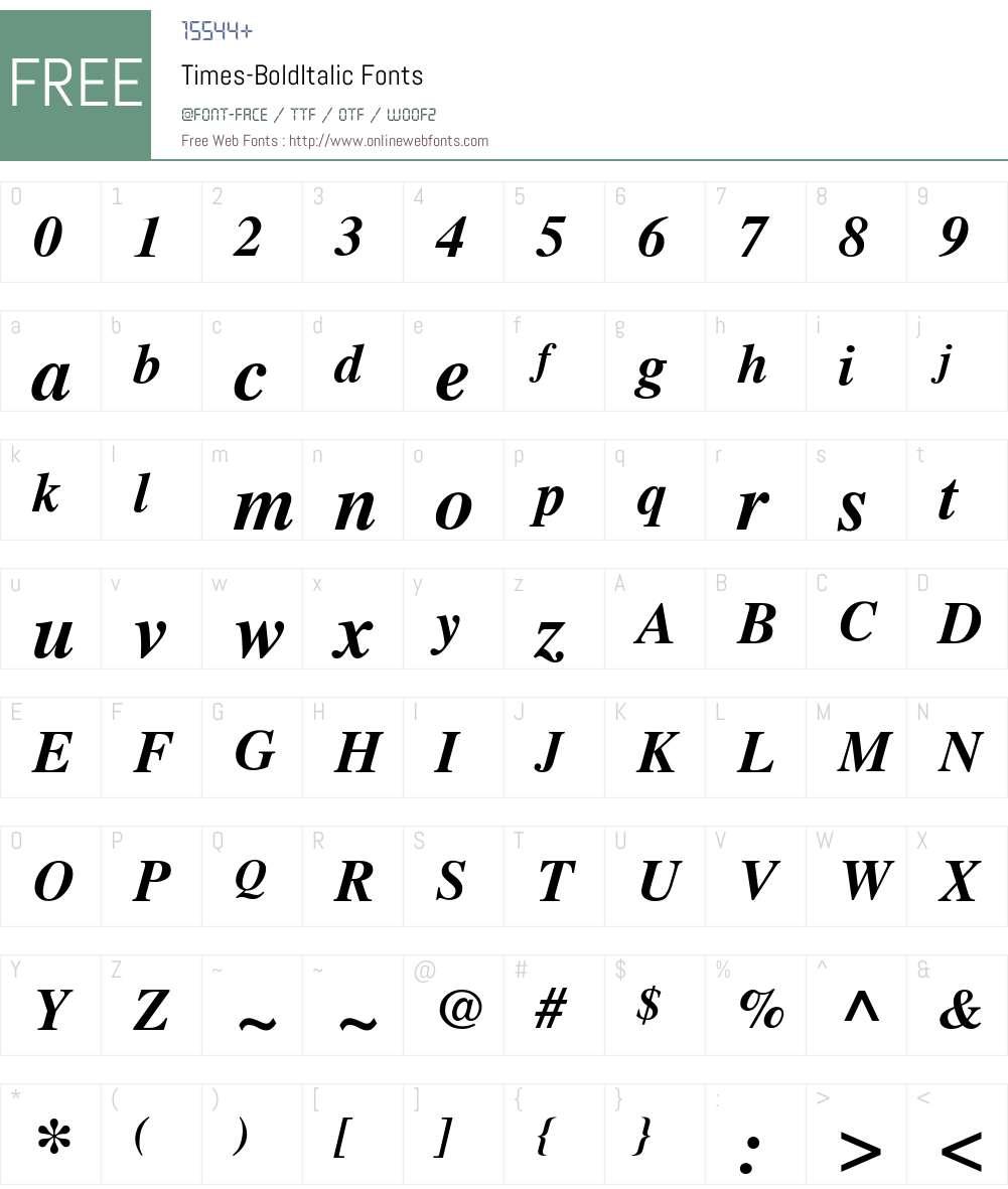 Times-BoldItalic Font Screenshots