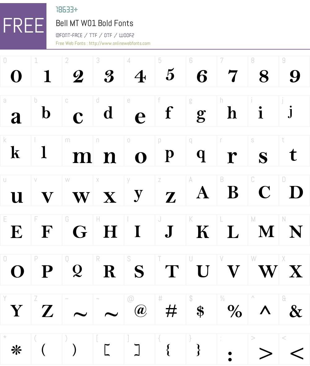BellMTW01-Bold Font Screenshots