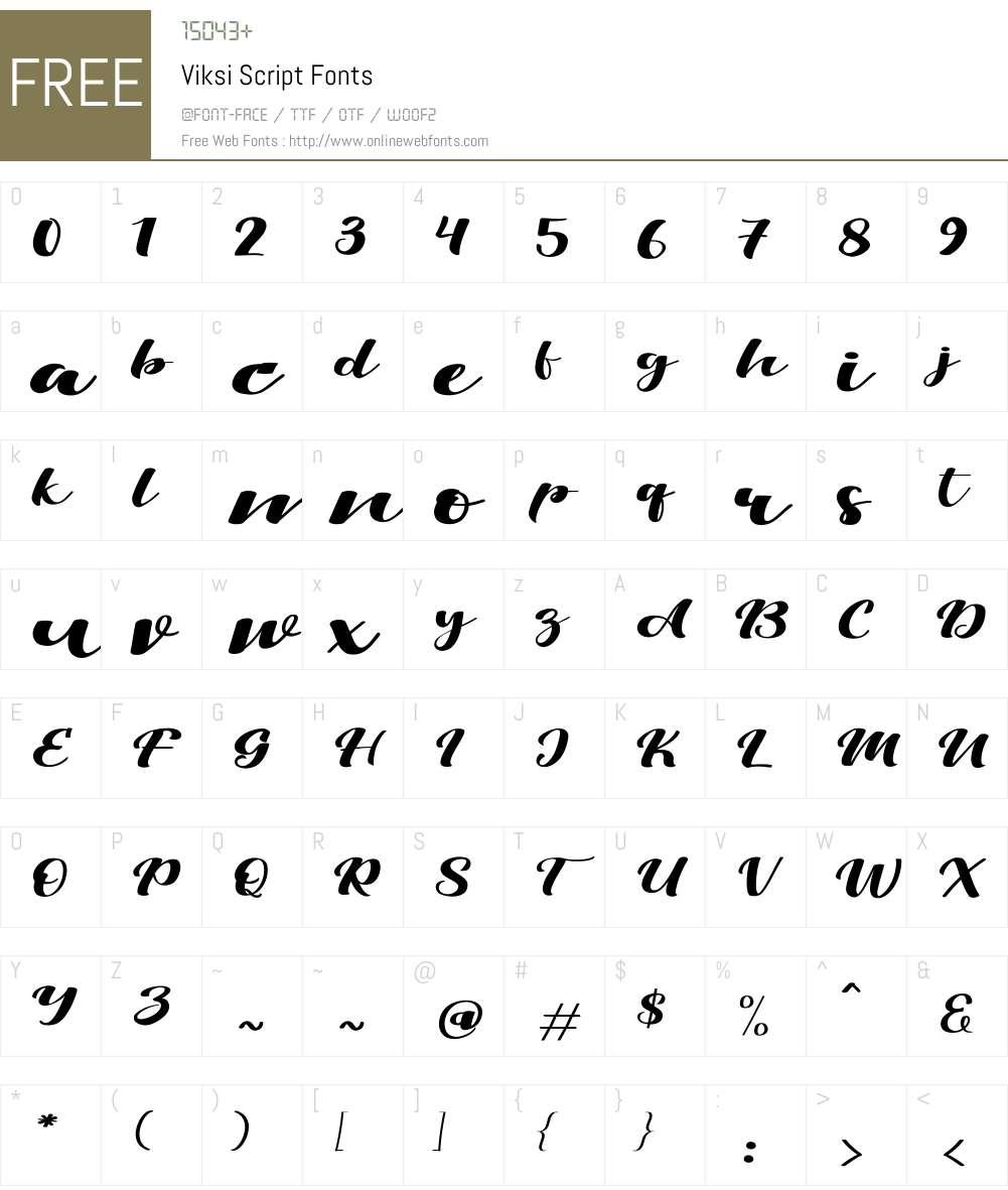 Viksi Script Font Screenshots