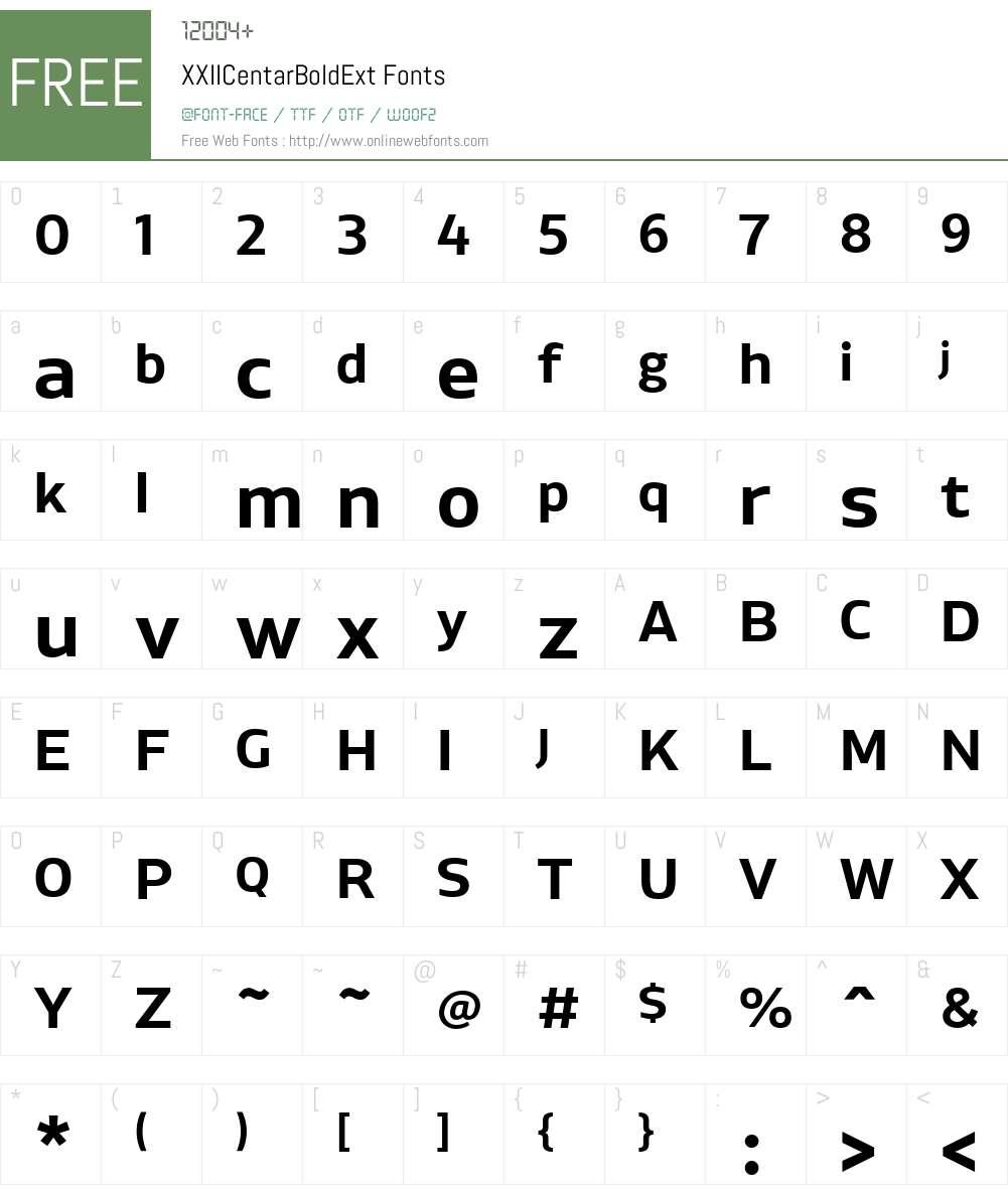 XXIICentarBoldExt Font Screenshots