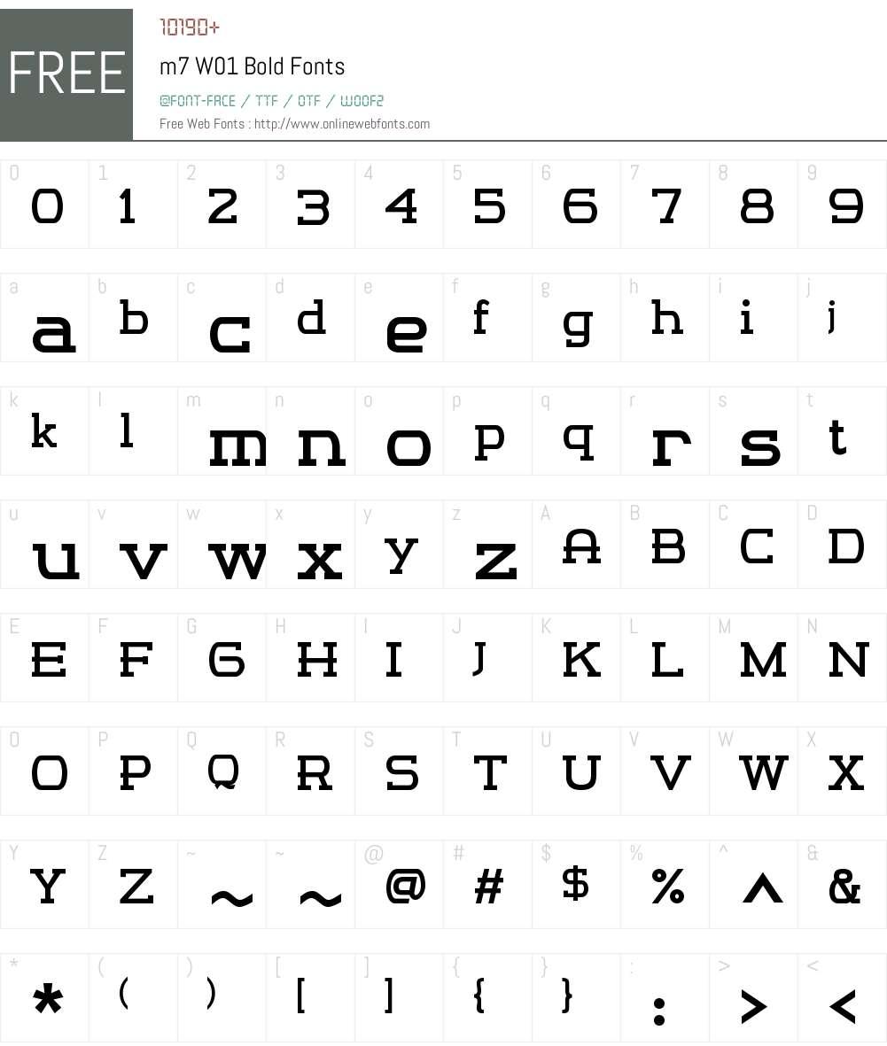 m7W01-Bold Font Screenshots