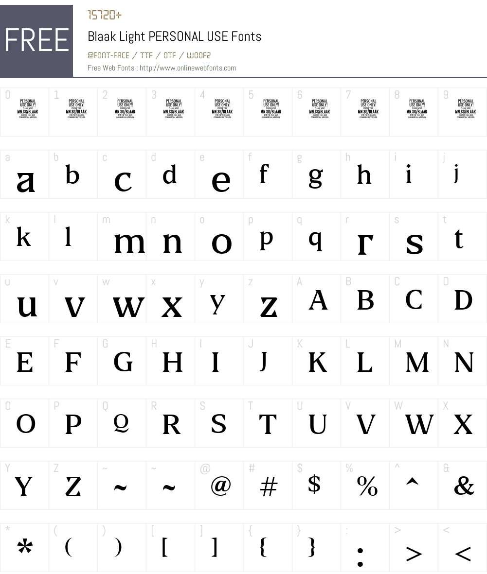 Blaak Light PERSONAL USE Font Screenshots