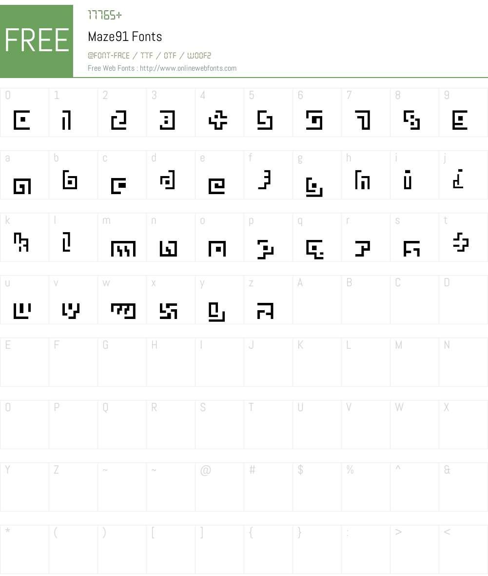 Maze91 Font Screenshots