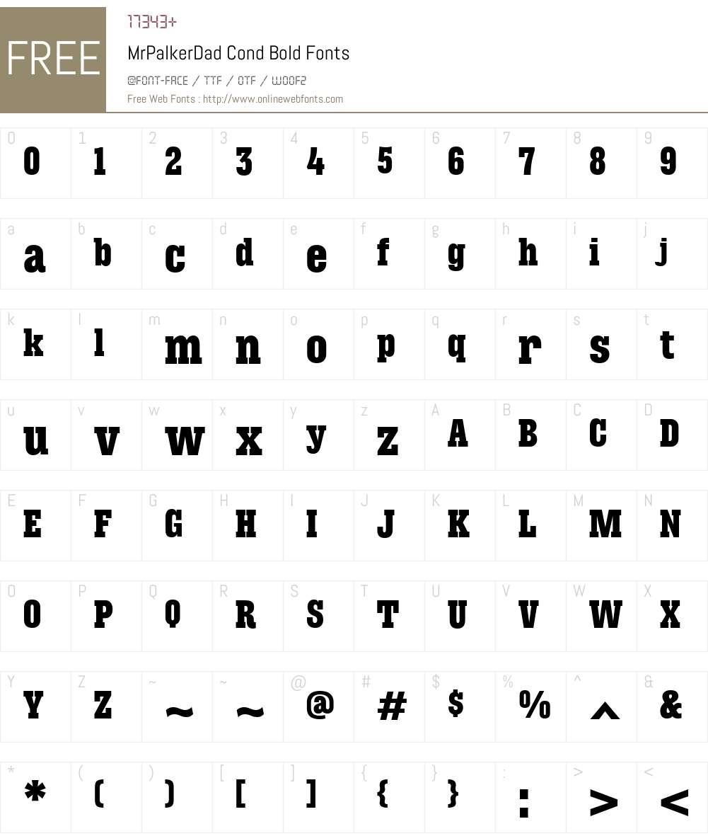 MrPalkerDadCond-Bold Font Screenshots