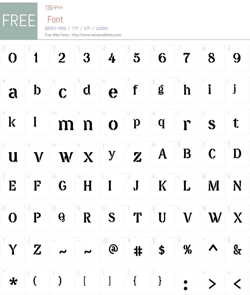 DavidFarewellStencil Font Screenshots