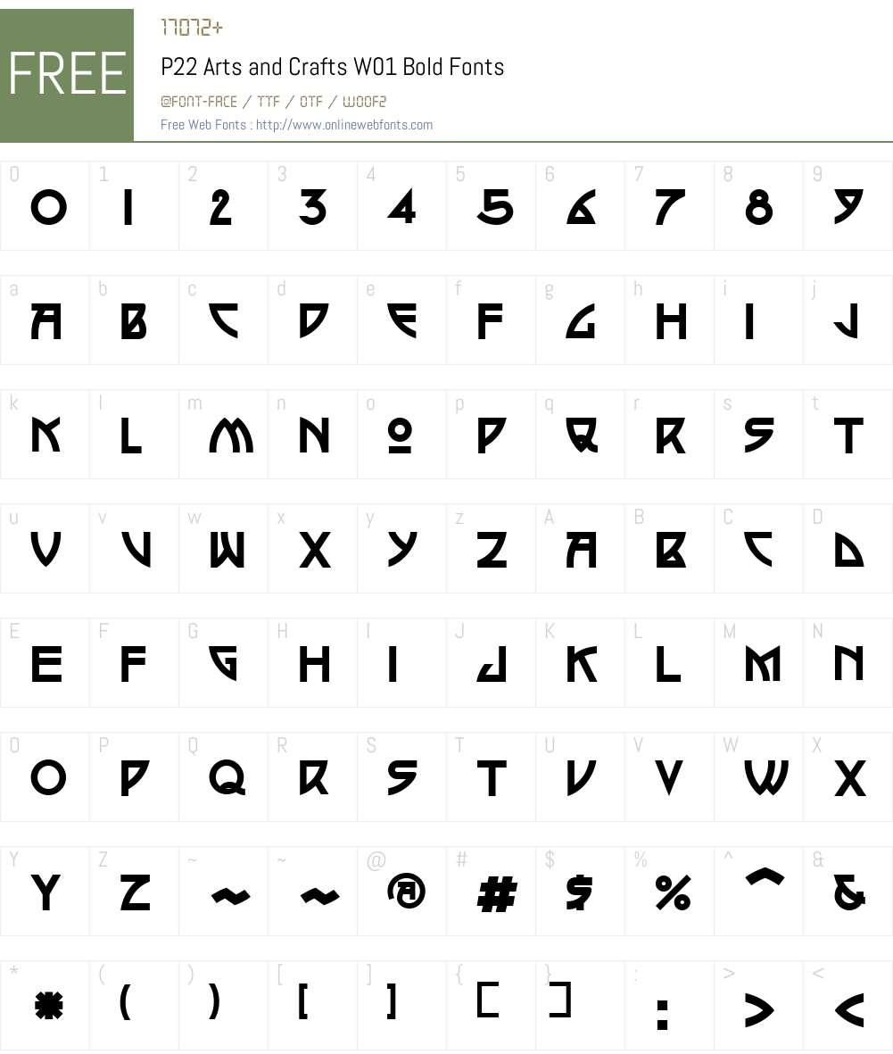 P22ArtsandCraftsW01-Bold Font Screenshots