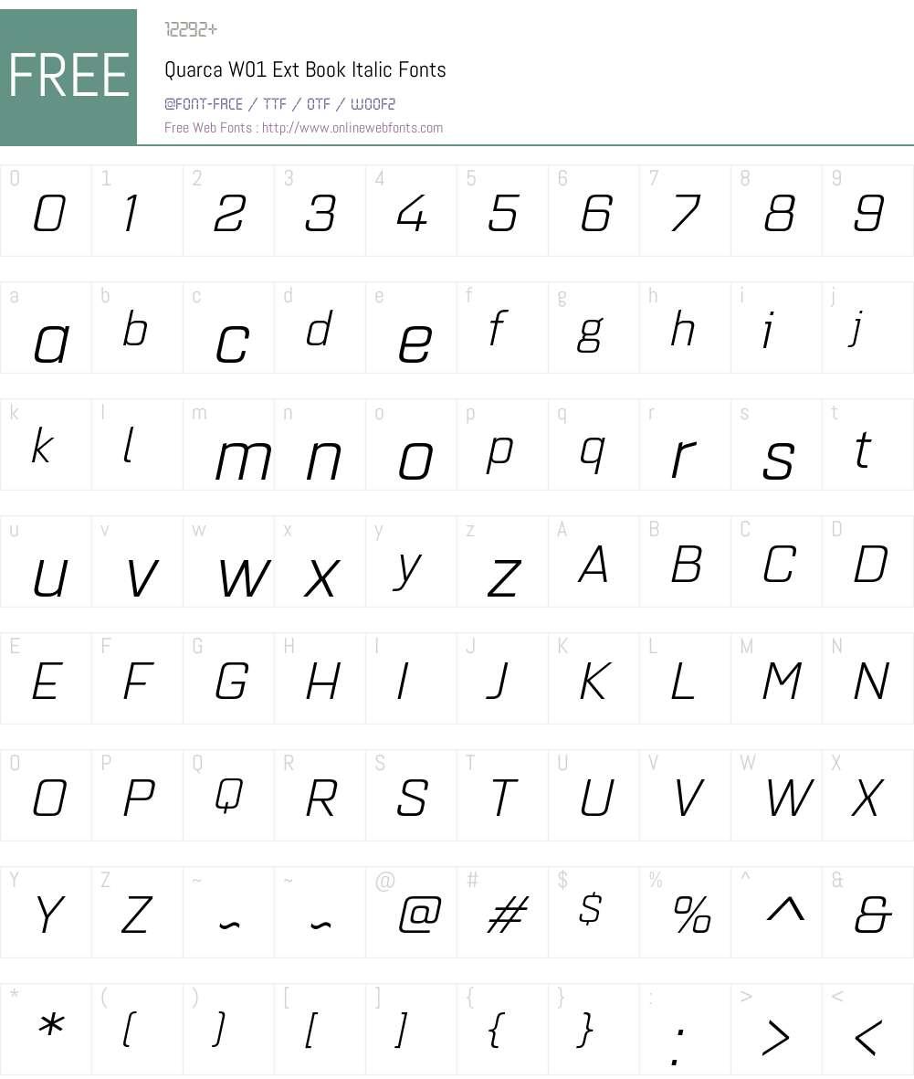 QuarcaW01-ExtBookItalic Font Screenshots