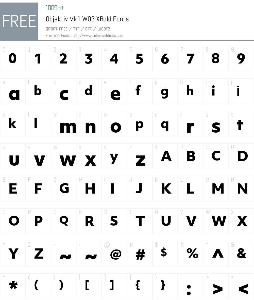 ObjektivMk1W03-XBold Font Screenshots