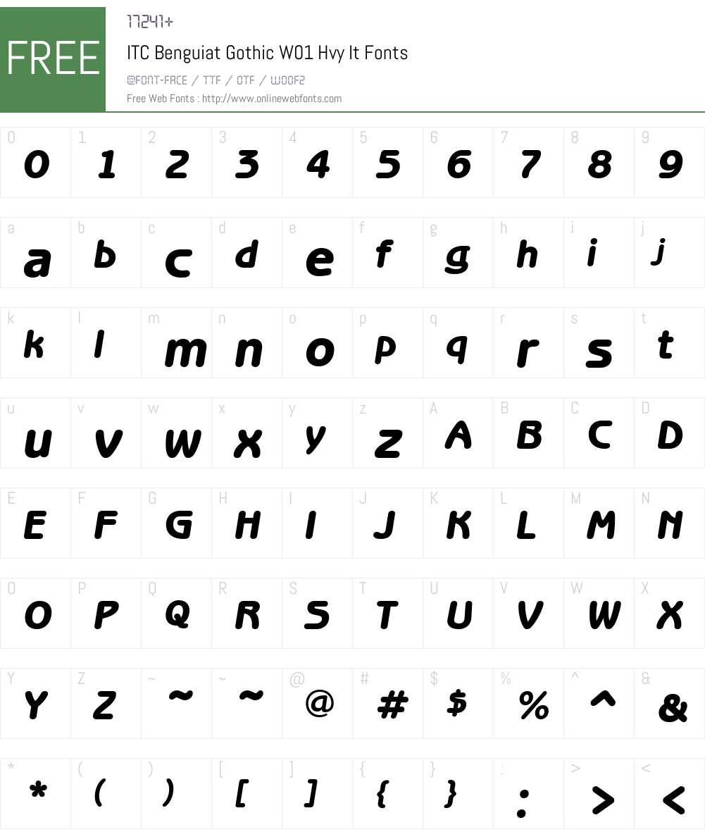 ITCBenguiatGothicW01-HvyIt Font Screenshots