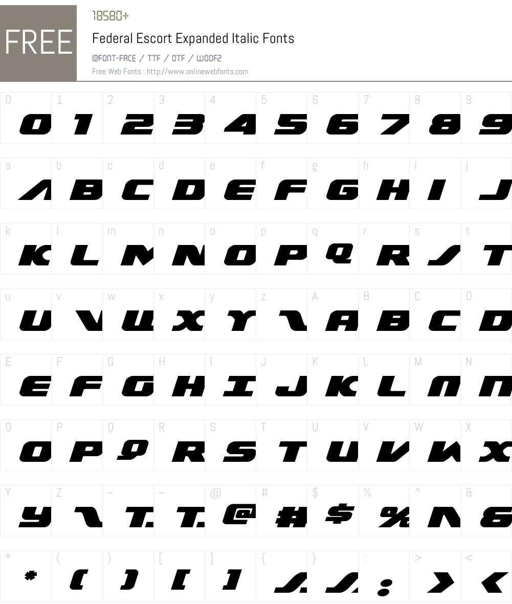 Federal Escort Expanded Italic Font Screenshots
