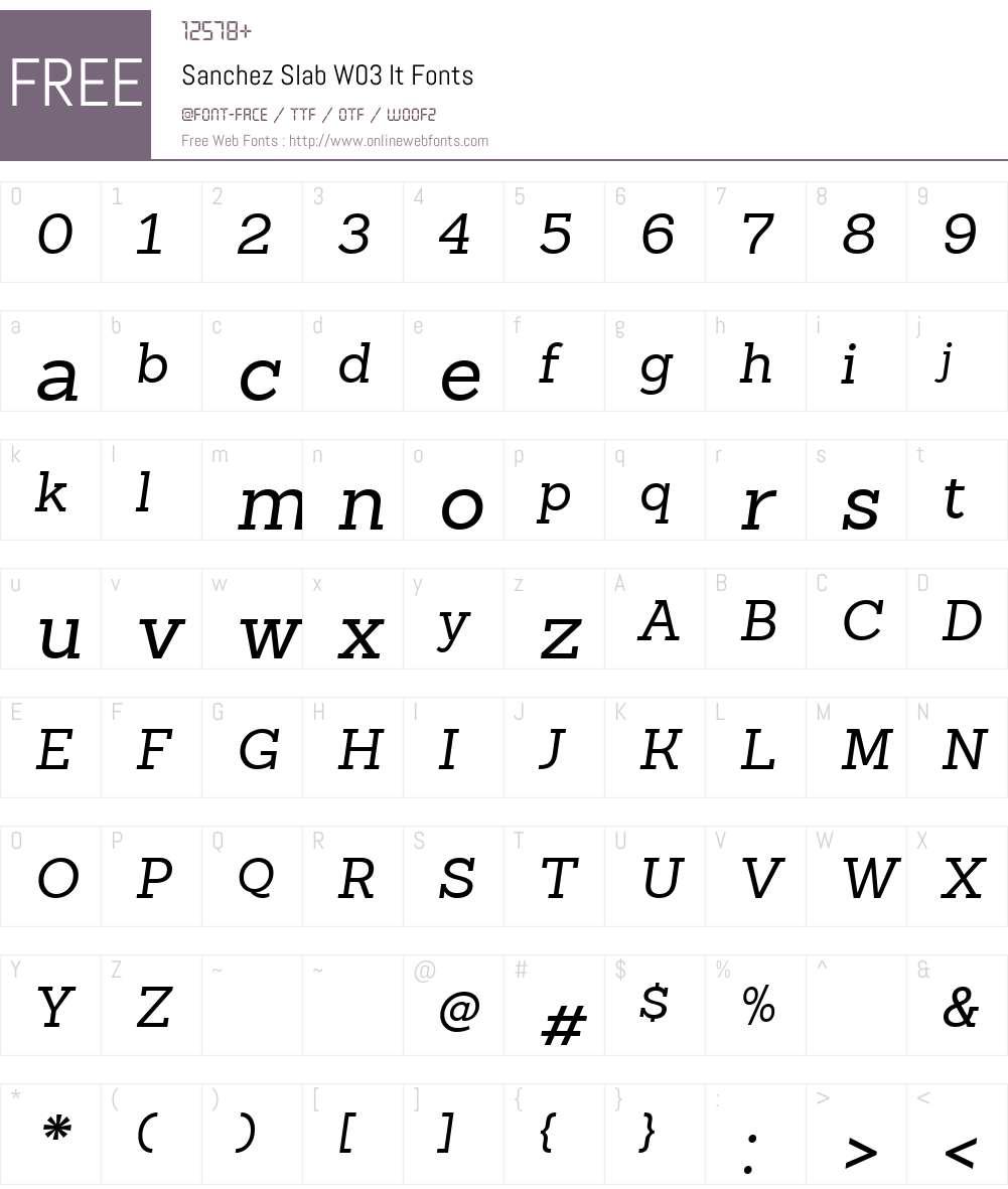 SanchezSlabW03-It Font Screenshots
